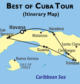 Best of Cuba Tour Map
