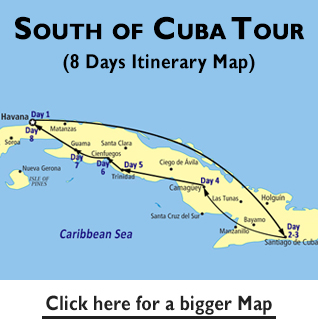 South of Cuba Tour Map